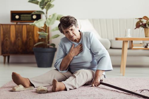 A nursing home resident on the floor after a fall accident.