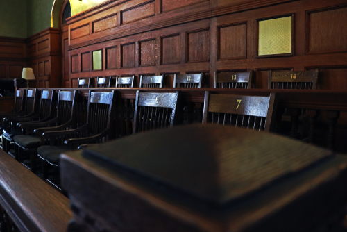 This is an image of a jury box in a courtroom for an Arkansas Philips CPAP lawsuit